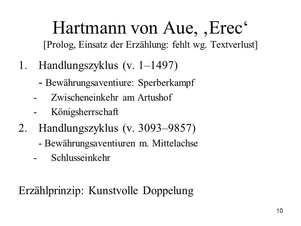 Hartmann von Aue, 'Erec' [Prolog, Einsatz der Erzählung: fehlt wg